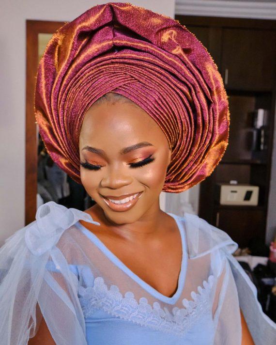 bride makeup and gele